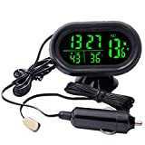 12V 4 in 1 Time Date Dual Temperature Auto Digital Car Thermometer Voltage Meter Monitor Luminous Clock Freeze Alert (green)