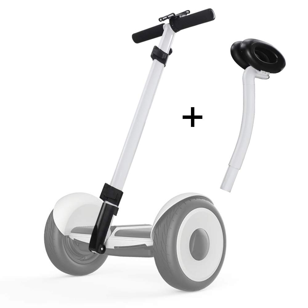 Dual Purpose Segway Handlebar for Minilite Scooter with Kickstand and Phone Mount, Handle Bracket with Knee Control, Self Balance Hoverboard Handle Bar Handle Bracket (White (Hand+Knee Control))