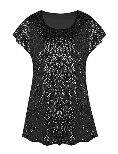 PrettyGuide Women's Sparkly Shirt Glitter Sequined Dolman Loose Tunic Blouse Top Black L/US14-16
