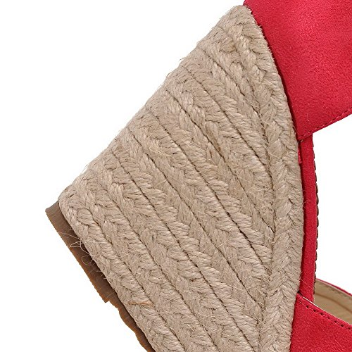AllhqFashion Womens Frosted Buckle Open Toe High Heels Solid Sandals RoseRed LbDzF2o