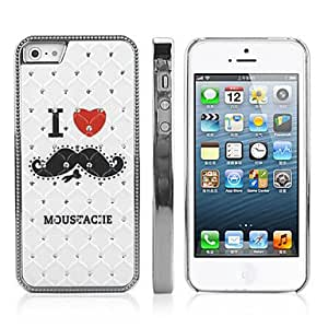 SHOUJIKE Diamond Look I Love Mustache Pattern PC Hard Case with Electroplated Frame for iPhone 5/5S