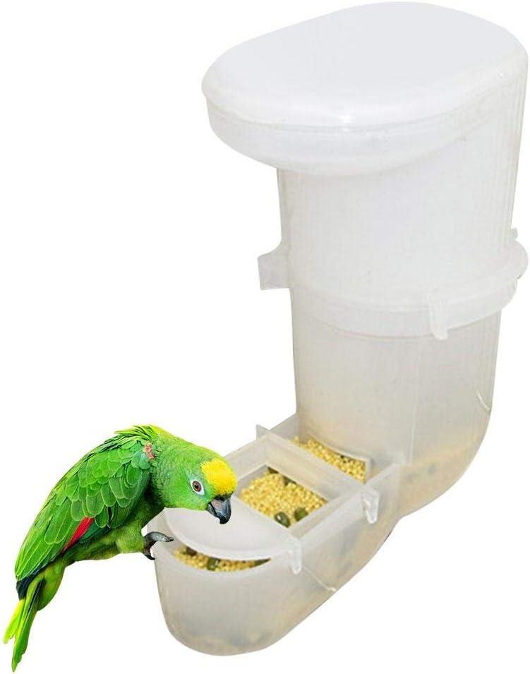 Kitabetty Comedero para pájaros, Comedero sin pájaros Comedero Automático Alimentador de Loros, Dispensador de Agua y Semillas de plástico, Se Adapta a la mayoría de Las jaulas de pájaros