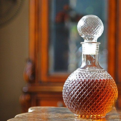 Kangkang@ Home Bar 1000ML Round Ball Shape Whiskey Wine Beer Water Drinking Glass Bottle Decanter with Cap Stopper
