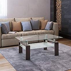 Living Room Depointer Life Glass Coffee Table, Rectangle Coffee Table for Living Room Modern Side Coffee Table with Lower Shelf… modern coffee tables
