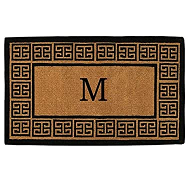 Home & More 180092436M The Grecian Extra-thick Doormat, 24  x 36  x 1.50 , Monogrammed Letter M, Natural/Black