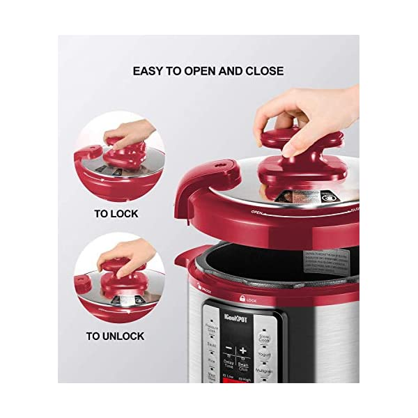 Electric Pressure Cooker ICOOKPOT 9-in-1 Multi- Use Programmable Smart Pressure Cooker, Slow Cooker, Yogurt Maker, Rice… 6