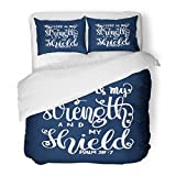 SanChic Duvet Cover Set the Lord Is My Strength and Shield Bible Verse Hand Lettered Quote Modern Calligraphy Christian Decorative Bedding Set with 2 Pillow Shams Full/Queen Size