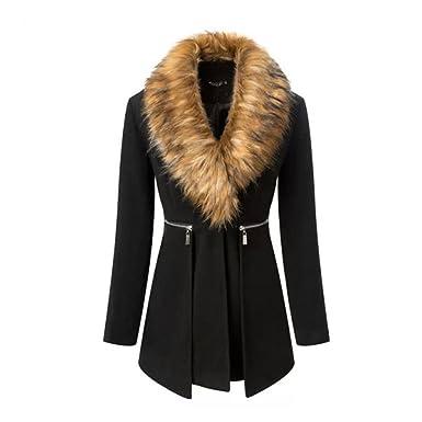 billig für Rabatt Durchsuchen Sie die neuesten Kollektionen exquisites Design Wintermantel Damen mit Pelz, CRAVOG Mode Schwarz Lange ...