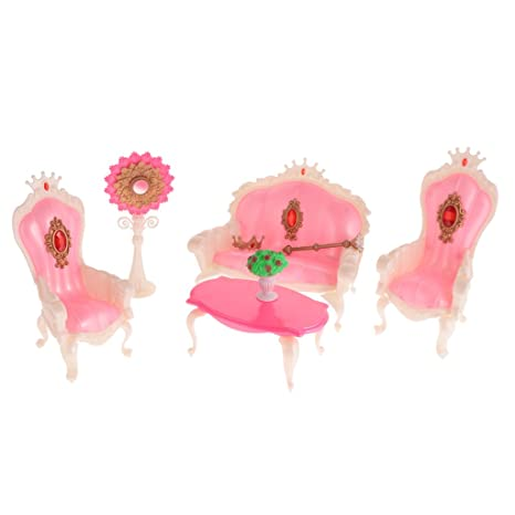 Amazon.com: Dovewill Plastic Furniture Princess Living Room Playset ...