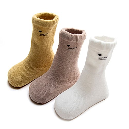 - FQIAO Cute Cotton Unisex Baby Socks Long Tube Thick Warm And Soft Holders 3 Pack Gift for Newborn And Baby-XS 0-6 Months