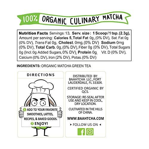 Baahtcha – Polvo de té orgánico de la marca USDA Matcha ...