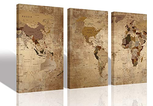 Canvas World Map Wall Art 3 Panels Framed Old Painting, Vintage Wall Map of The Worlds 16