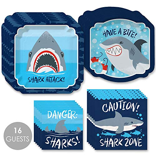Shark Zone - Jawsome Shark Party or Birthday Party Tableware Plates and Napkins - Bundle for 16]()