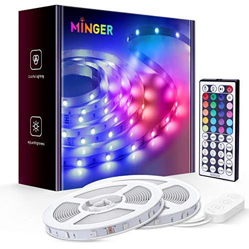 MINGER LED Strip Lights, 2 Rolls of 32.8ft with Remote, RGB, for Room, Bedroom, Ceiling Decoration