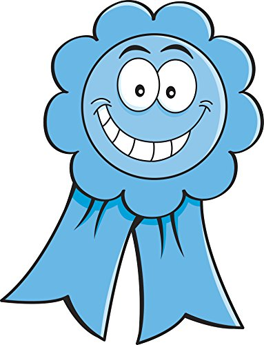 Smiling Happy Achievement Award Ribbon Cartoon Emoji - Blue Vinyl Decal Sticker (8
