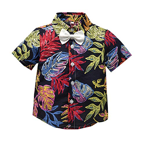 KASSD T-Shirt for Baby Boy, Tops Blouses Toddler Kids Leaf Print Bow Tie Gentleman Casual ()
