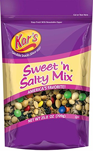 Kar's Nuts Sweet 'N Salty Trail Mix Snacks - High Protein Blend of Peanuts, Sunflower Kernels, Raisins & Chocolate Gems, Gluten Free - 25 oz Resealable Pouch (Pack of 8) ()