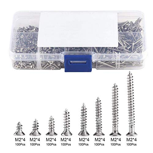 Screw 800Pcs M2 Self-Tapping Screws Carbon Steel 4mm 6mm 8mm 10mm 12mm 16mm 20mm Screw Fasteners Woodworking Kit with Storage Box from Unknown
