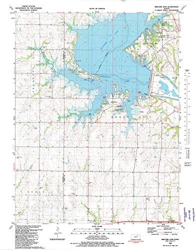 (YellowMaps Milford Dam KS topo map, 1:24000 Scale, 7.5 X 7.5 Minute, Historical, 1982, Updated 1982, 27.1 x 21.15 in - Polypropylene)