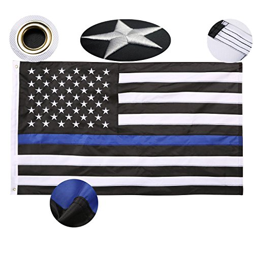 Thin Blue Line USA Flag 3'x5' Ft Embroidered Stars Sewn Stripes US Police Flag Lives Matter Honoring Law Enforcement Officer LEOs American USA Banner Black White and Blue By - Monday Usa Black