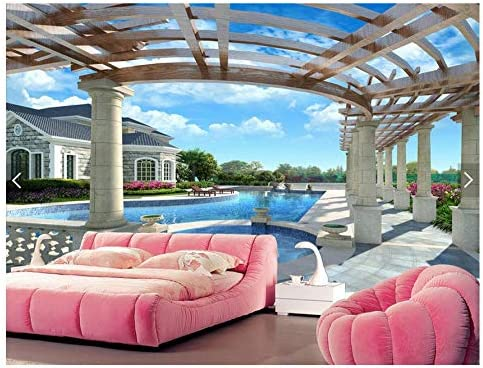 Mural no tejido 3D papel tapiz balcón piscina fondo foto Murall ...