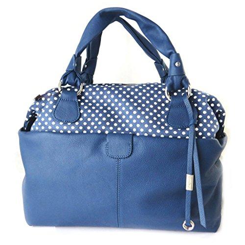 Bolsa de cuero 'Gianni Conti'guisantes azules - 36x22x18 cm.