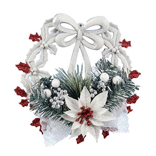 SODIAL(R) White Christmas Home Door Window Ornaments Christmas Decoration Xmas Tree Hanging Decor, A wreath with a bow-knot