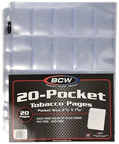 BCW Clear 20-Pocket Tobacco Pages | Pocket Size 2-3/4