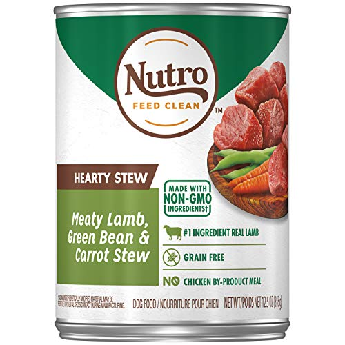 NUTRO HEARTY STEW Adult Canned Natural Wet Dog Food Cuts in Gravy Meaty Lamb, Green Bean & Carrot Stew, (12) 12.5 oz. Cans (Best Gravy For Lamb)