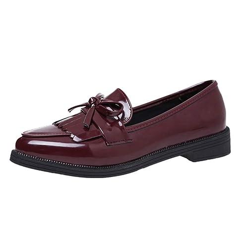 Mujeres Oxford Zapatos Casual Borla Arco señaló Toe Pisos cómodo Deslizamiento Sobre el Cuero de los Zapatos Mocasines para Mujer: Amazon.es: Zapatos y ...