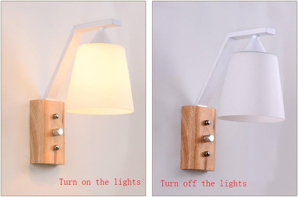 Farbe : Schwarz Fu Man Li Trading Company Nordic Massivholz kommt mit Schalter Wandleuchte Schlafzimmer Holz Farbe Gang Nachttischlampe A+
