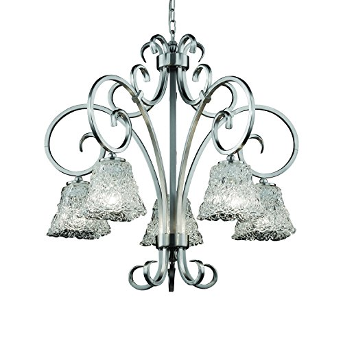(Justice Design Group Veneto Luce 5-Light Chandelier - Brushed Nickel Finish with Lace Venetian Glass Shade)