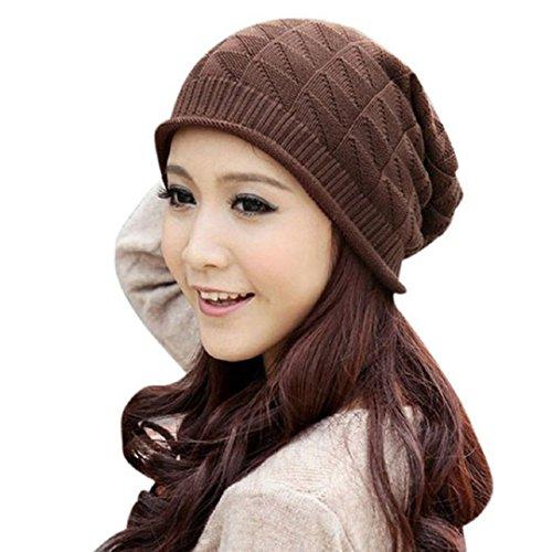 e Knit Crochet Ski Hat Oversized Cap Hat Warm (Coffee !) (Crochet Ski Hat)