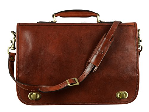 - Leather Briefcase Laptop Bag Attache Medium Time Resistance (Dark Brown)