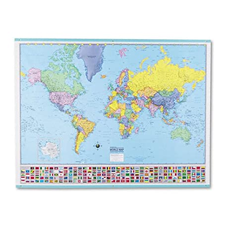 Amazon Com American Map 715758 Deluxe Laminated World Map 48w X