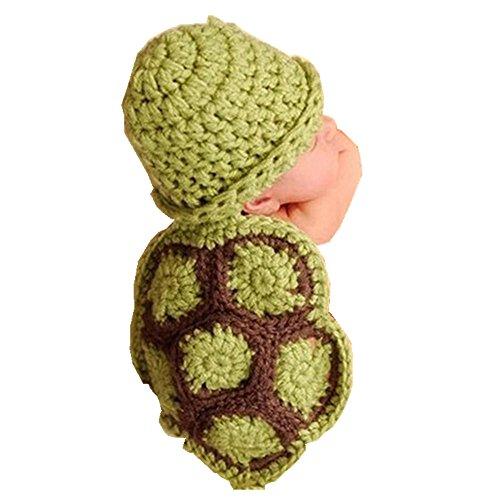 [Start Newborn Baby Winter Warm Soft Turtle Knit Crochet Hat Outfit Clothes Beanie] (Bell Boy Hat Costume)