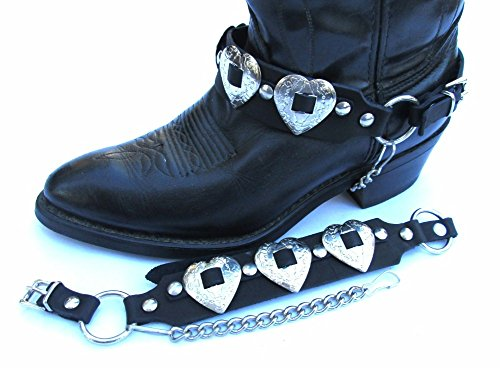 Western Boot Leather Harness Strap Chains Ladies with Heart Conchos NP