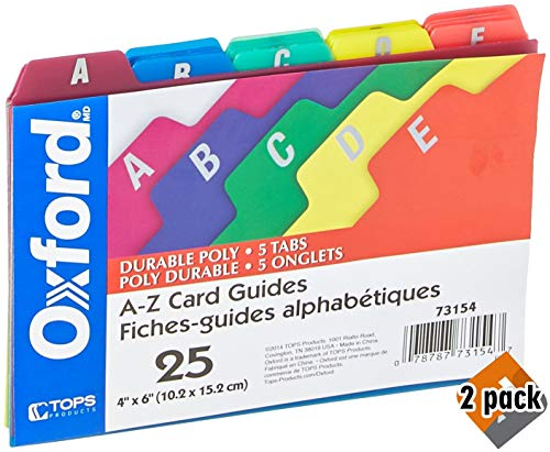 Oxford Poly Index Card Guides, Alphabetical, A-Z, Assorted Colors, 4