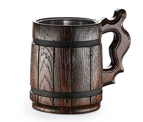 Handmade Beer Mug Oak Wood Stainless Steel Cup Carved Natural Beer Stein Old-Fashioned Brown - Wood Carving Beer Mug of Wood Great Beer Gift Ideas Wooden Beer Tankard for Men Capacity: 20oz (600ml)