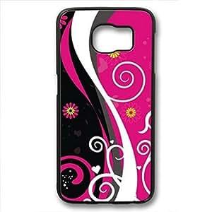 Galaxy S6 Edge Case, iCustomonline Pink Black Vector Case for Samsung Galaxy S6 Edge Black