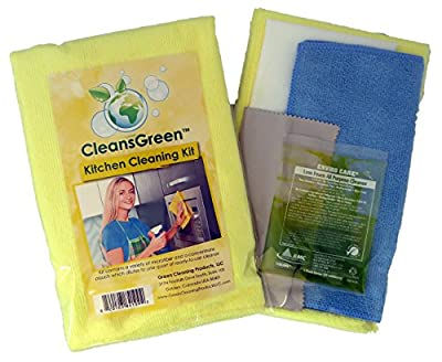 CleansGreen Kit Best for Kitchen (Floor, Cabinets, Stove) and BONUS | For Streak Free Results Use Set with Natural All Purpose Cleaner Refill and Antibacterial Microfiber Cloth EXTRA 3 Reusable Rags