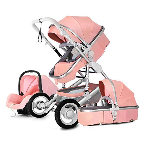 Baby Stroller and car seat Combo?Newborn Stroller pram 3 in 1 Strollers Bed Baby bassinets 2-1 Baby Carriage Pushchair Foldable Infant Travel System (Lotus - Pink 3-1)