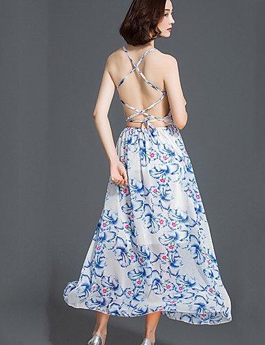 PU&PU Robe Aux femmes Mousseline de Soie / Swing Bohème,Fleur A Bretelles Maxi Polyester , blue-xl , blue-xl