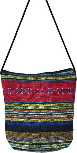 Small Multicolor Asian Thai Style Hippie Boho Hand Made Cotton Fabric Woven Lanna Pattern Sling Shoulder Tote Cross Body Bag From Chiangmai Thailand