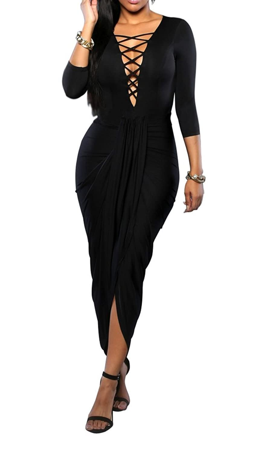 Women Sexy Cut Out Deep V Neck Front Slpit Bandage Ruched Clubwear Maxi Dress