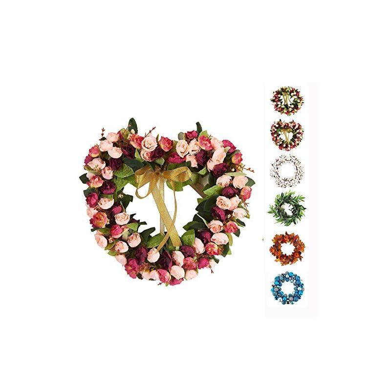 silk flower arrangements decormy 14inch heart-shaped garland wreath vintage art simulation rose flowers wreath for home wedding decoration wine red (14inch, heart)