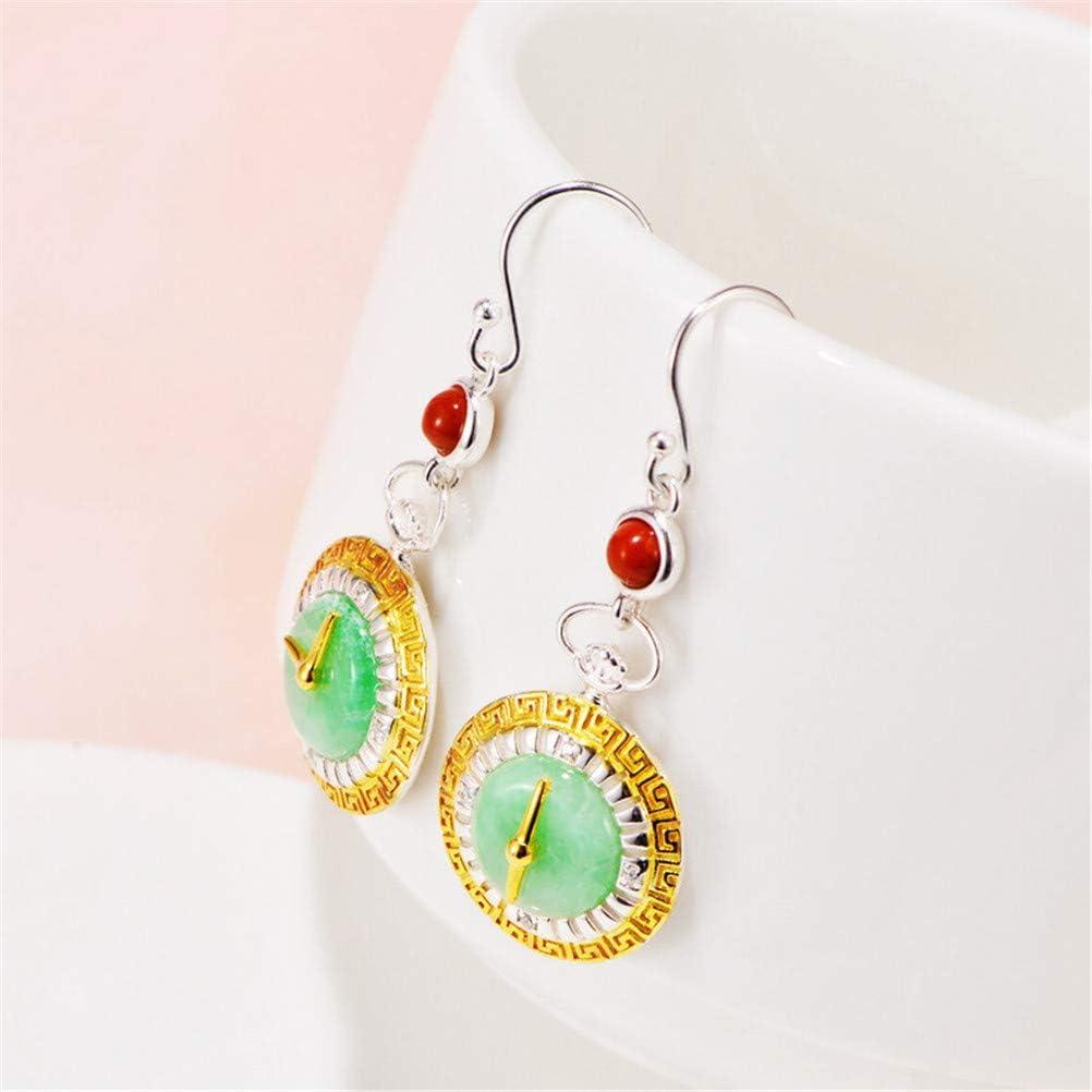 TTXLY Pendientes de Las Mujeres del Perno Prisionero del Reloj de Plata Pendientes S925 Plata Retro Esmeralda Reloj para los oídos joyería Sensible (hipoalergénico)