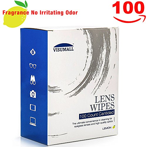 VISUMALL 100 Lens Wipes - Pre-Moistened Cleaning Wipes Portable Travel Cleaner with Light Fragrance Nonirritating - Glass Scratches Removing From