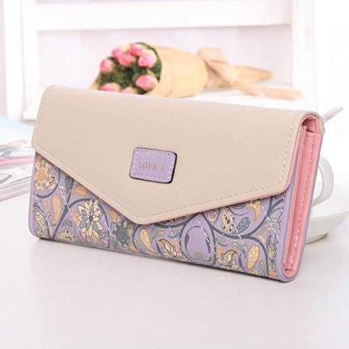 Women Lady Leather Clutch Envelope Wallet Long PU Card Holder Case Purse Handbag (Purple) (Michael Bag Cross Kors)