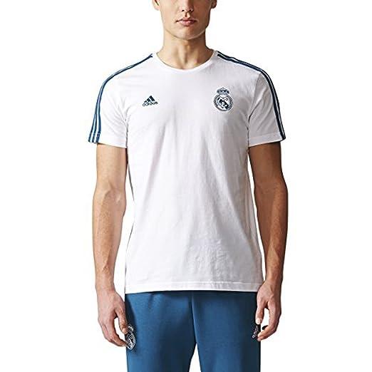 new style ad2f5 b52f1 adidas Men's Real Madrid Three-Stripe Tee Soccer T-Shirt